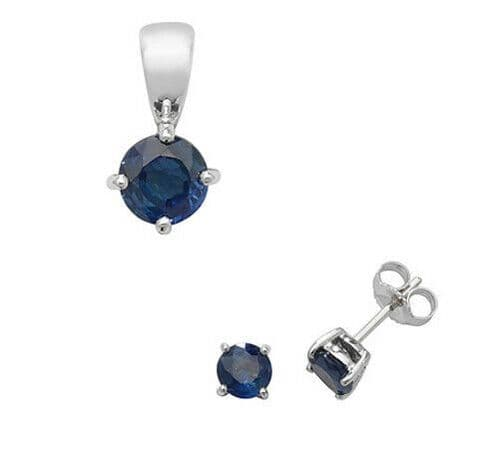 Sapphire Pendant and Earrings Set Classic Solitaire 9ct White Gold Hallmarked
